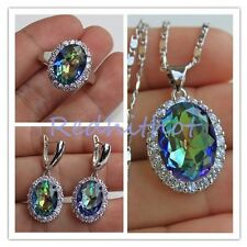 18K White Gold Filled - Oval MYSTICAL Topaz Pendant Necklace Earrings Ring Set