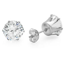 Solid Stainless Steel Round Brilliant Cut Cubic Zirconia CZ Stud Earrings