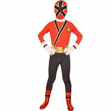 Red Boys Power Rangers costume kid Samurai Fancy Dress child Morphsuit Cosplay