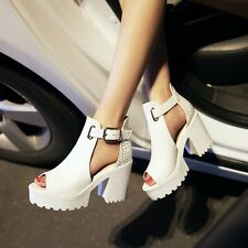 Womens Shoes Peep Toe Block High Heel Ankle Strap Platform High Heels Size AU
