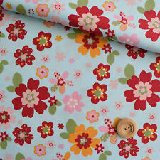 Camelot Fabrics Forest Friends Blue Patterned Floral Fabric 100% Cotton