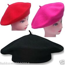 New Ladies & Girls Women Beret Hat Black Red Beret Hats Fancy Dress