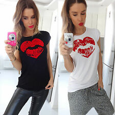 Red Lip Women Summer Loose Top Shirts Short Sleeve Daily Tops T-Shirt Blouses