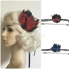 Vintage 1920's Feather Diamante Great Gatsby Chain Headband Hairband Headpiece