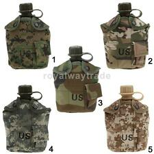 3 Piece Army WATER BOTTLE Screw Top Military Canteen, Cover, Cup, Belt Clip Set