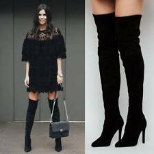 ZARA *Black Over The Knee High Heel Leather Boots* NEW_UK3_4_5_6_7