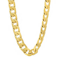 8mm Wide Men's Heavy 14k Gold Plated Solid Cuban Link Curb Chain Necklace