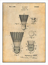 1935 Badminton Shuttlecock Patent Print Art Drawing Poster 18X24