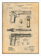 1897 JM Browning Firearm Patent Print Art Drawing Poster
