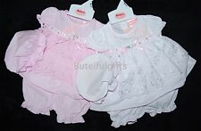 Baby Girls Broderie Anglaise Slotted Ribbon Dress Pants & Mop Hat Set 0-9 Month