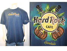 RARE NEW HARD ROCK CAFE HONOLULU HAWAII BLUE UKULELE LOGO T-SHIRT MEN'S TEE XL