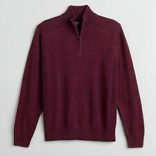 New GH Bass Earth Men's Quarter Zip Pullover Sweater Men's Sz M or L 2 Colors