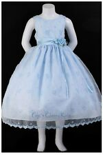 New Light Baby Blue Flower Girls Dress Easter Party Christmas Organza  5231KK
