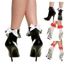Opaque Nylon Pin-Up Anklet w/Ruffle Frill Lace Trim Satin Bow Ribbon Ankle Socks