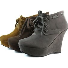 Ankle Booties Round Toe Platform Wedge High Heel Lace Up Women Dress Boots Shoes