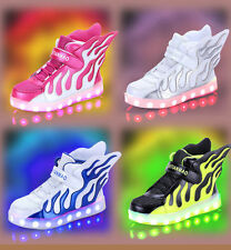 New LED Light up USB Charger Velcro boys girls Sneakers Wings Kids dance Shoes