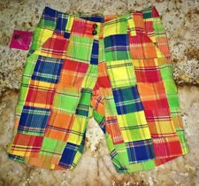 NEW Womens 0 LOUDMOUTH GOLF Grass Quilted Squares Blue Red Green Bermuda Shorts