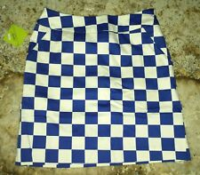 NEW Womens Sz 2 LOUDMOUTH GOLF Derby Chex Royal Blue White Checkered Skort
