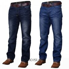 Crosshatch FARROW Mens Belted Jean Soft Fabric Straight Leg Dark Wash