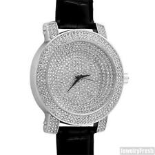 Silver Fully Iced Out Stadium Dial Luxury Bling Watch