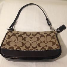 "COACH Baguette Demi Pouch Purse - Brown Leather Signature Jacquard 8.5"" # 6094"