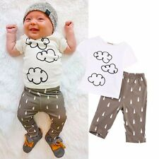 2pcs Toddler Infant Baby Boy Girl Clothes T-shirt +Pants Outfits Set 0-24 Mths