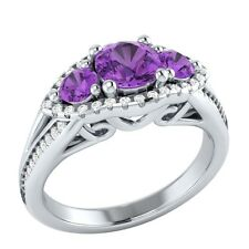 1.20 ct Real Amethyst & Authentic Diamond Solid Gold Wedding Engagement Ring