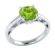 1.10 ct Real Peridot & Authentic Diamond Solid Gold Wedding Engagement Ring