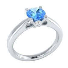 0.65 ct Real Topaz & Authentic Diamond Solid Gold Wedding Engagement Ring