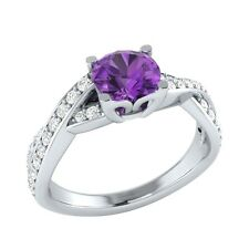 0.85 ct Real Amethyst & Authentic Diamond Solid Gold Wedding Engagement Ring