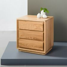 Tobias 3 Drawer Timber Bedside Table - Solid Oak Wood - 40x50x55cm