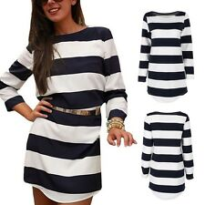 Women Winter Boat Neck Striped Long Sleeve Knit Sweater Dress Warm Vogue Dresses