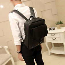 Men College Style Leather Fashion Casual Travel Tote Backpack Laptop Bag Vintage