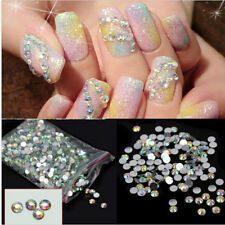 1000Pcs Nail Art Flatback Crystal AB 14 Facets Resin Round 4mm Rhinestone Beads