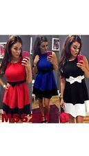 Ladies Stylish Sleeveless Tie Bow Detail Contrast Pleated Flared Skater Dress 26