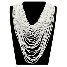 White Resin Seed Multiple Layered Beads Cluster Pendant Bib Long Party Necklace