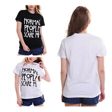 Cotton Shirt Funny Normal People Scare Me Women Print Tshirt Fashion Casual