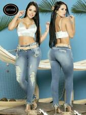 Colombian Jeans Fajate Virtual Sensuality Push Up Butt Lift Blue with Flowers ap