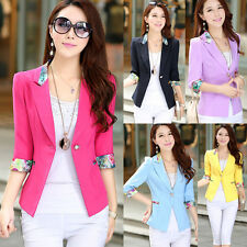Women 3/4 Sleeve Floral Shrug Tops One Button Blazers Suits Jacket Coat Outwear