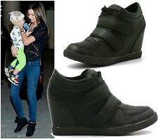 WOMENS MID HEEL WEDGE PLATFORM LACE UP VELCRO HI TOP LADIES ANKLE TRAINERS BOOTS