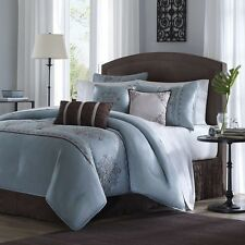 7pc Luxury Blue & Brown Embroidered Comforter Set w/Bed Skirt Shams & Pillows
