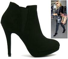 WOMENS LADIES BLACK SUEDE PLATFORM HIGH HEEL STILETTO ANKLE BOOTS SHOES SIZE