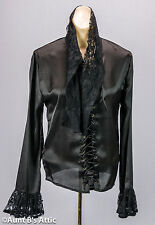 Victorian Steampunk Blouse Black Poly Viscose Laced Front Lace Collar Ladies Top