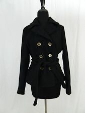 H&M Divided Black Double Breasted Peacoat Jacket Coat 10
