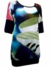 Womens plus size 26 28 top blue tunic lngth short sleeve blurred print