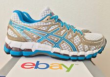 WOMENS ASICS GEL KAYANO 20 ISLAND BLUE Size 6.5 gold stability gt noosa white