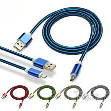 Over 2A Micro USB Charging Cable Dual Color Braided Charger For Samsung Android