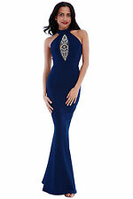 Ladies Long Navy Evening Maxi Dress Ball Gown Prom Party Women's Size UK 12