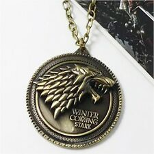 "Fashion Game of Thrones Necklace House Stark Winter Coming Bronze 2"" Zinc Metal"