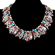"Multi-Color Rhinestone Crystal Statement Bib Collar Chain Necklace 18"" 20.5"""